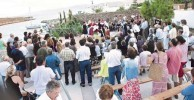 Large crowd gathered for the Ayiasmos ceremony at Avlemonas