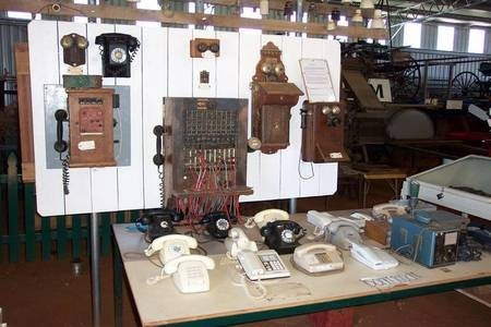 "The original Gilgandra Telephone Exchange, with numerous ""antique"" telephone handsets. - Family Plus Gil 099"