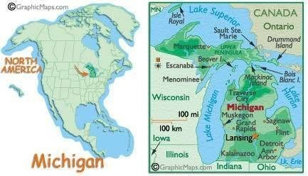 State of Michegan, in relationship to the USA.