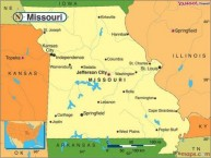 Map of Missouri, USA.