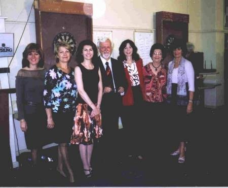 Professor Nikos Petrochilos with Committee members from the Women's Auxiliary, Kytherian Association of Australia.