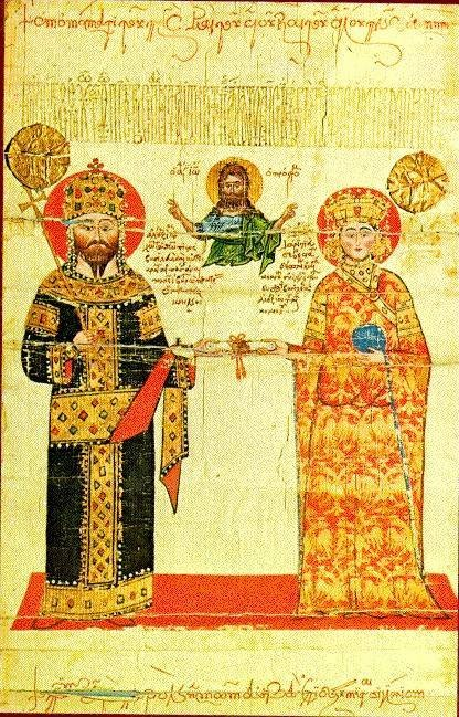 Double Headed Eagle iconology and the Greek Church. - Example of the use of the double-headed eagle on imperial vestments, from a chrysobull of Alexios III of Trebizond, mid-14th century