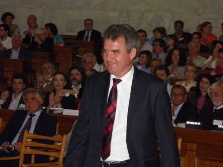 Deputy Mayor of Kythera, Michaelis Protospaltis accepting the Eptanesian award