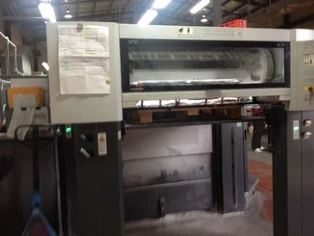 The end where the print sheets emerge on the Heidelberg printer