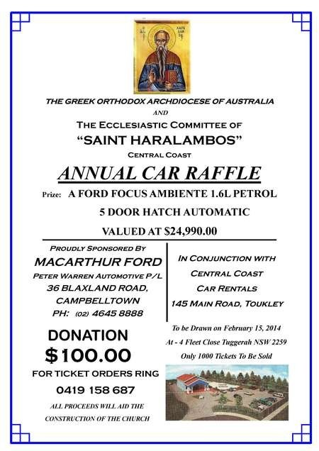 The Greek Orthodox Archdiocese  of Australia - Church Group Ad for Annual Car Raffle 2014