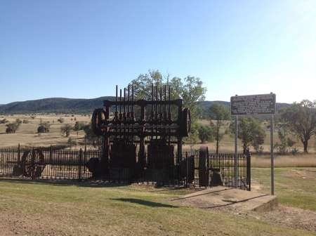 Gold mining machinery at the Bingara park and barbecue area