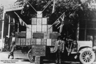 Motor vehicle in Charleville loaded with Shell fuel tins, 1919.
