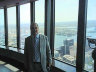 Mayor Theorthori Koukoulis on top of Centre Point Tower, Sydney