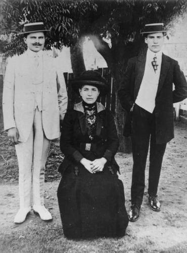 Harry Corones, Jim Corones and their sister, Charleville, ca. 1914