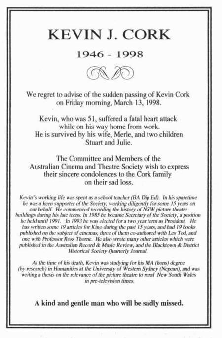 Kevin J Cork. Obituary notice. 13th March 1998. - Cork, Kevin, Obituary, Kino