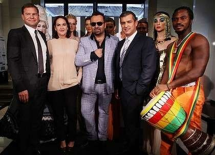 Cosmetic work could keep department stores alive. The philosophy of Napoleon Perdis. - Napoleon Perdis (centre, in sunnies) with DJs chief executive Paul Zahra to his left