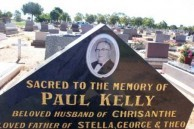Paul Kelly. Upper part of his headstone. Gilgandra Cemetery.