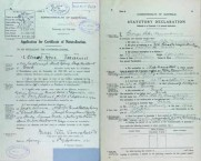 George Peter Vamvakaris Naturalization Application