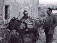 Rebecca on a donkey and Valerios - January 1983