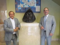 Peter Mageros and Theothoris Koukoulis, Mayor of Kythera in the entrance of Frutex