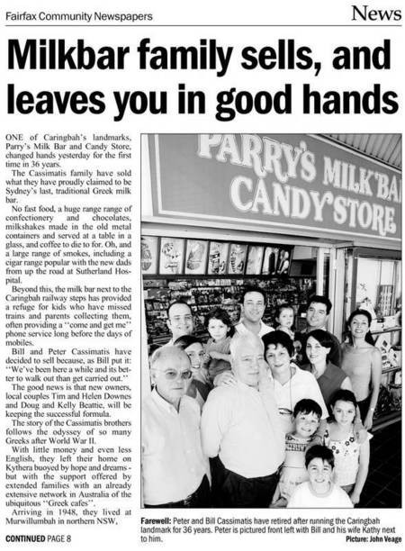 Peter and Bill Cassimatis retire after running Parry's Milk Bar and Candy Store, Caringbah, for 36 years. - Kyth Newletter  NOV Small