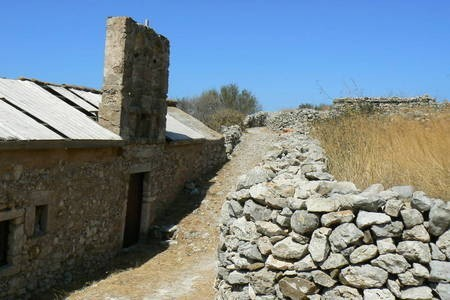 Stone house and wall