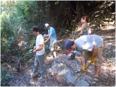 Environmental Archaeology and History in Northern Kythera: - Gregory Students clearing undergrowth at the Manganou Spring