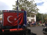 Turkish flag displayed at the Canberra Cafe celebrations, Manilla, NSW
