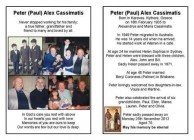 From the Funeral card of Peter (Paul) Alex Cassimatis