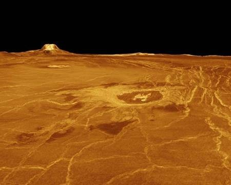 Venus - the PLANET - Venusian landscape - Gula Mons and Crater Cunitz - Venus Landscape