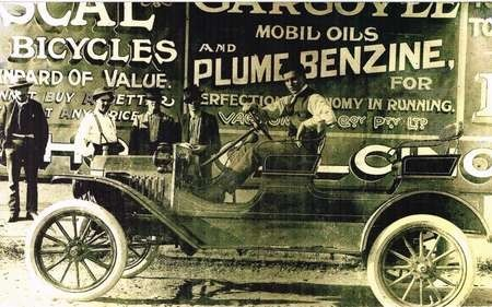 Jimmie Corones at the wheel of his first car in Wills Street, Charleville. - Jim Corones Quilpie s