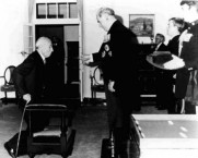 Nicholas Laurantus at his investiture, Government House, Canberra, 22 August 1979. Officiating is the Governor-General, Sir Zelman Cowen.