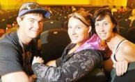 Excited: Arron Larkin, Kira Johnstone and Lauren Thomas, of Grafton, get ready to enjoy one of the first movies shown at the redeveloped Saraton Theatre, Tomorrow When the War Began