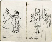 This sketch is of the master classes in tango dancing that we would have in the morning in the old school house at the main square.