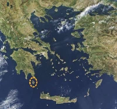 Photograph of Kythera by satellite.