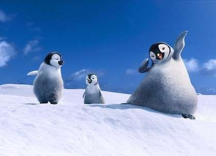 Snow Business - Cold feet (from left) Bo, Erik and Atticus were created for Happy Feet Two