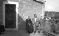 Uncle Theodore Gavrilys with relative on Grandfather's porch