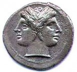 The Roman god Janus, depicted on a Roman coin.