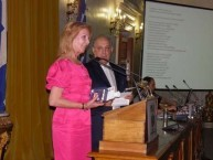 Tonia Katsiani receiving her award at the Eptanesian Award ceremony