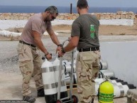 Preparing the diving equipment for the six man team on Antikythera