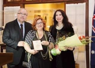 Dr Maria Hill speaks and is presented with an Award - Lemnos presentation with Greek Ambassador and Mrs Dafaranos