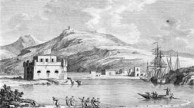 Castellan's view of Avlemonas harbour and Agios Georgios tou Vounou in the background, ca. 1797.