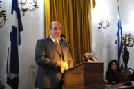 Professor Minas Coroneo speaking to the award he received for Kythera,