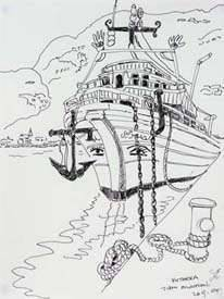 Diakofti. Ship in Harbour. Line drawing.