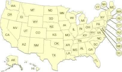 Abbreviations for States in the United States of America. - Abbreviations USA States