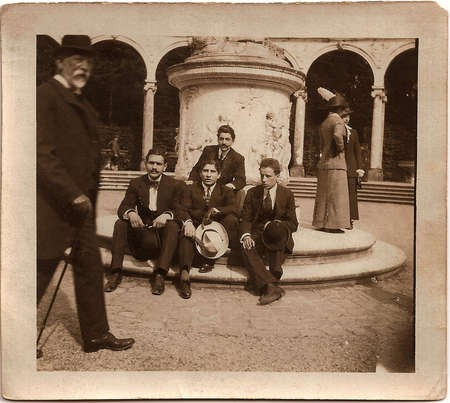 Emmanuel Andrew Cavacos - Emmanuel Cavacos and his Paris friends. Cavacos is seated at center and holding a white hat Paris August 22 1912
