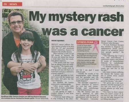 My mystery rash was a cancer - Patricia Samios article A