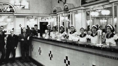 Interior of the Black & White Milk Bar, Martin Place, Sydney / Mick Adams c.1932.