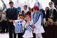 School children with flags on Ohi Day March 2005