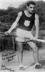 Peter Clentzos competing for Greece, in the pole vault at the 1932 Los Angeles Olympic Games.