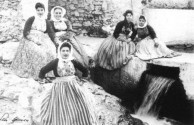 Kytherian women wearing the traditional spaleta.
