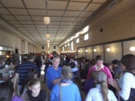 A large crowd gathered on the inside of the Roxy Cafe