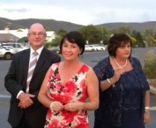 Leeah Daley (right) with Max Eastcott and his wife Lisa (centre)