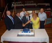 Cutting the cake created to celebrate the 40th anniversary of the creation of the Albury Soccer Club