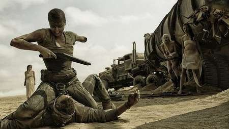 Charlize Theron muscles in as Furiosa. Photo Jasin Boland Warner Bros. Entertainment